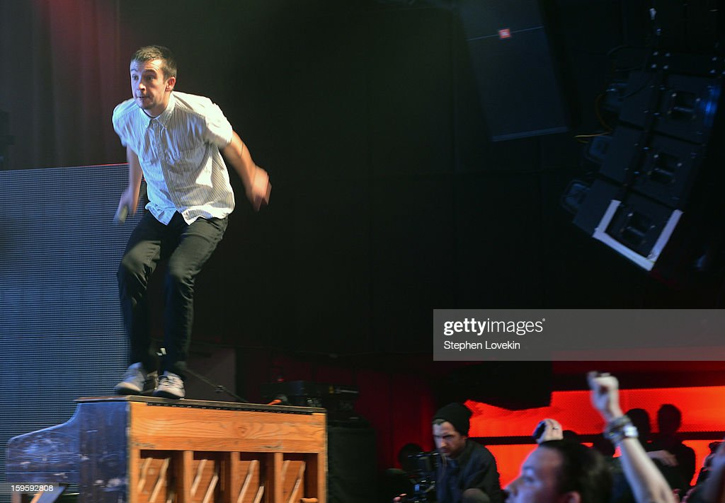 Singer/musician Tyler Joseph of Twenty One Pilots performs at MTV's 2013 'Artists To Watch' Concert at Highline Ballroom on January 16, 2013 in New York City.