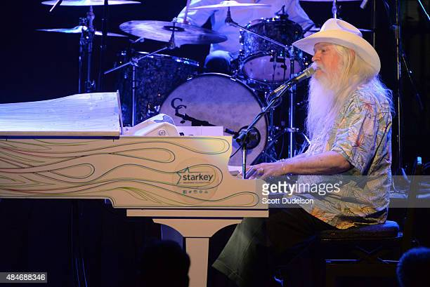 Singer/piano player Leon Russell performs onstage at The Canyon Club on August 20 2015 in Agoura Hills California
