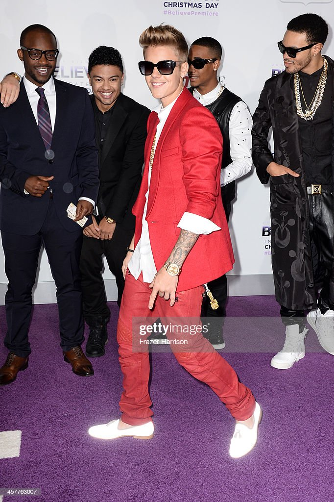Singer/producer Justin Bieber arrives at the premiere of Open Road Films' 'Justin Bieber's Believe' at Regal Cinemas L.A. Live on December 18, 2013 in Los Angeles, California.