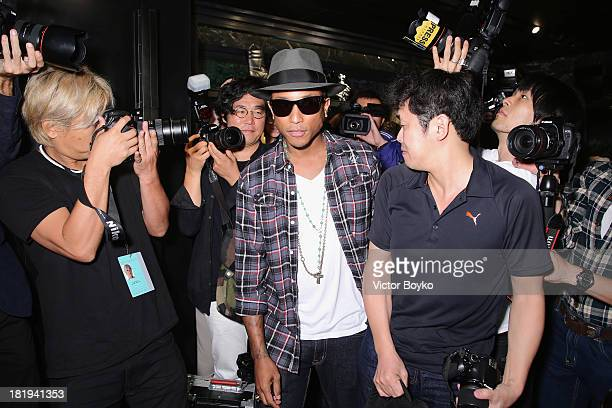 Singer/Producer Pharrell Williams attends the Press Conference for the Moncler New Flagship Opening in Paris at Rue Du Faubourg SaintHonore on...