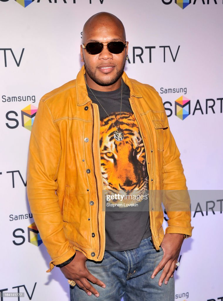 Singer/rapper <a gi-track='captionPersonalityLinkClicked' href=/galleries/search?phrase=Flo+Rida&family=editorial&specificpeople=4456012 ng-click='$event.stopPropagation()'>Flo Rida</a> attends Samsung's 2013 Television Line Launch Eventat Museum Of American Finance on March 20, 2013 in New York City.