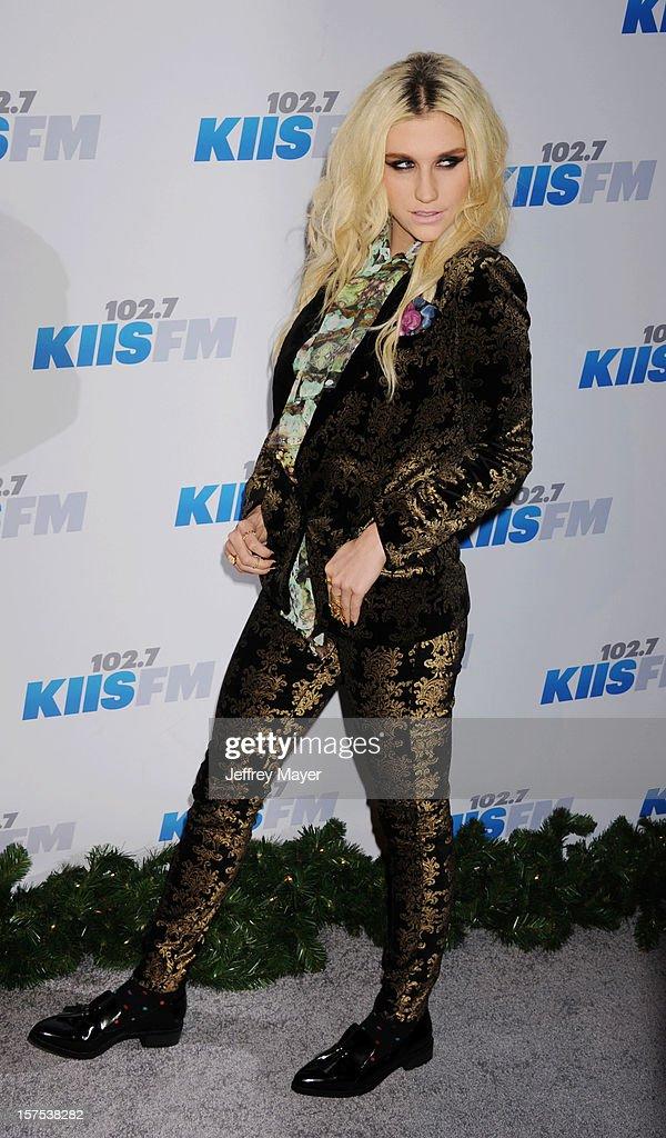Singer/recording artist Ke$ha attends the KIIS FM's Jingle Ball 2012 held at Nokia Theatre LA Live on December 3, 2012 in Los Angeles, California.