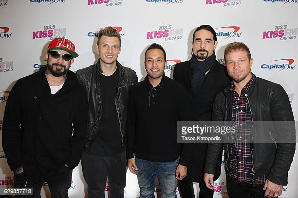 Singers A J McLean Nick Carter Howie D Kevin Richardson and Brian Littrell of the Backstreet Boys attend 1035 KISS FM's Jingle Ball 2016 at Allstate...