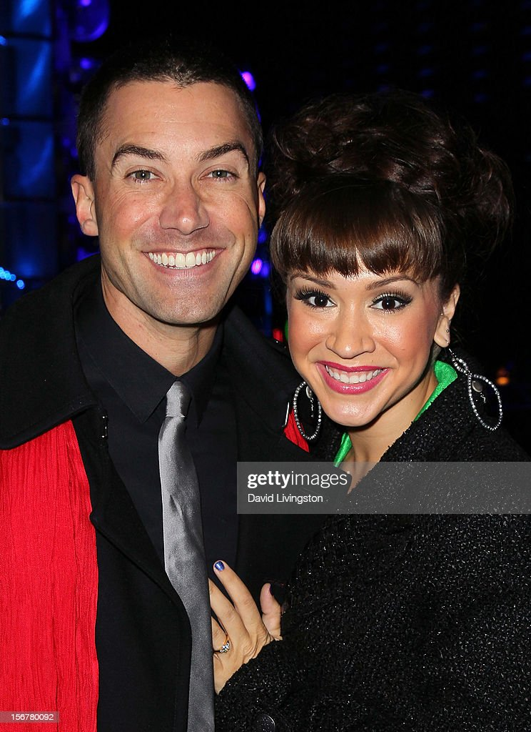 Singers Ace Young (L) and Diana DeGarmo attend Associated Television International's 2012 Hollywood Christmas Parade Concert at Universal CityWalk's 5 Towers on November 20, 2012 in Universal City, California.