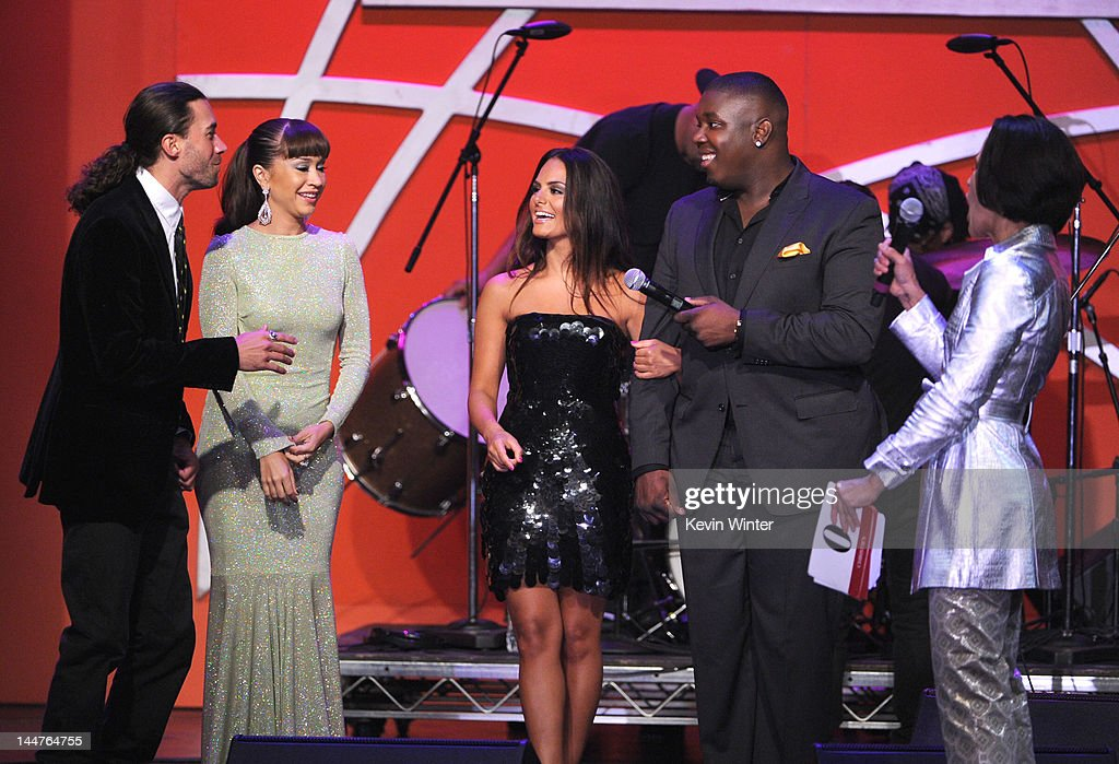 Singers Ace Young, Diana DeGarmo, Pia Toscano and Jacob Lusk onstage at the 19th Annual Race to Erase MS held at the Hyatt Regency Century Plaza on May 18, 2012 in Century City, California