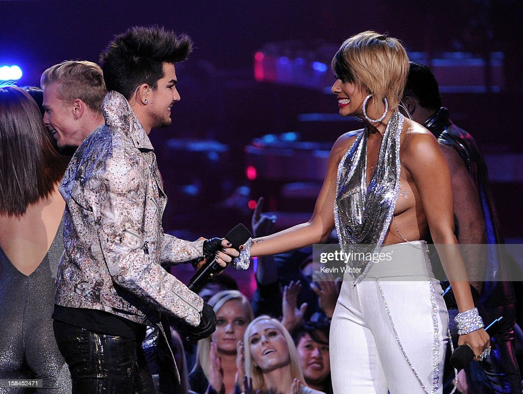 Singers Adam Lambert and Keri Hilson perform onstage during 'VH1 Divas' 2012 at The Shrine Auditorium on December 16, 2012 in Los Angeles, California.