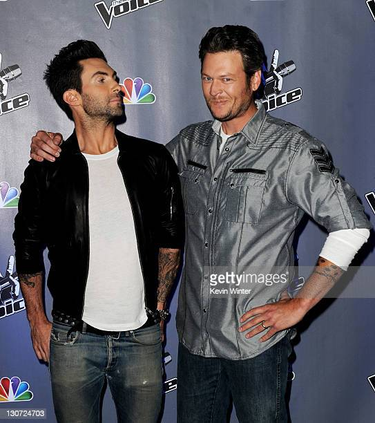 Singers Adam Levine and Blake Shelton appear at a press junket for NBC's 'The Voice' at Sony Studios on October 28 2011 in Culver City California