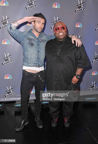 Singers Adam Levine and Cee Lo Green arrive at NBC's press conference for the their new Show 'The Voice' on March 15 2011 in Los Angeles California