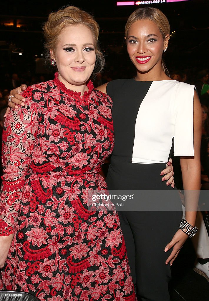 Singers Adele (L) and Beyonce attend the 55th Annual GRAMMY Awards at STAPLES Center on February 10, 2013 in Los Angeles, California.