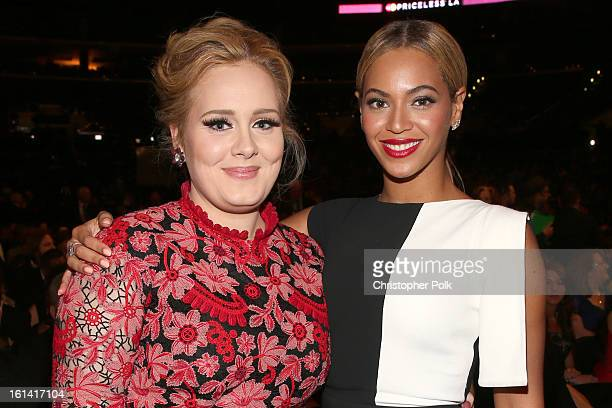 Singers Adele and Beyonce attend the 55th Annual GRAMMY Awards at STAPLES Center on February 10 2013 in Los Angeles California