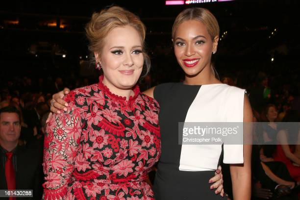 Singers Adele and Beyonce attends the 55th Annual GRAMMY Awards at STAPLES Center on February 10 2013 in Los Angeles California