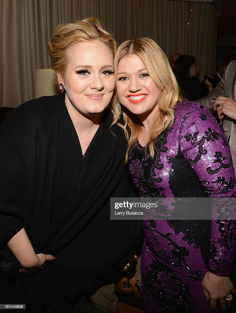 Singers Adele and <a gi-track='captionPersonalityLinkClicked' href=/galleries/search?phrase=Kelly+Clarkson&family=editorial&specificpeople=201555 ng-click='$event.stopPropagation()'>Kelly Clarkson</a> attend Sony Music Grammy Reception at Bar Nineteen 12 on February 10, 2013 in Beverly Hills, California.