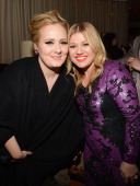 Singers Adele and Kelly Clarkson attend Sony Music Grammy Reception at Bar Nineteen 12 on February 10 2013 in Beverly Hills California