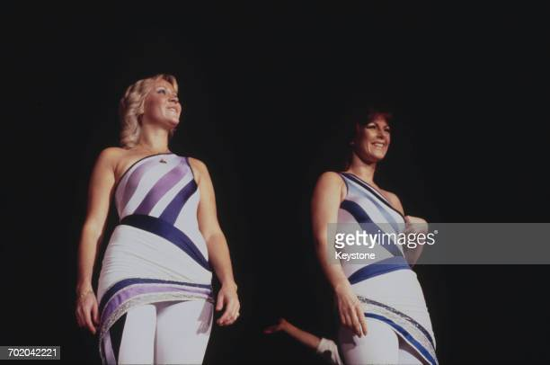 Singers Agnetha Fältskog and AnniFrid Lyngstad performing with Swedish pop group Abba on their third and final tour 1979