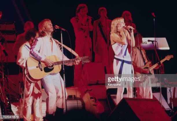 Singers Agnetha Fältskog and Björn Ulvaeus performing with Swedish pop group Abba on their third and final tour 1979