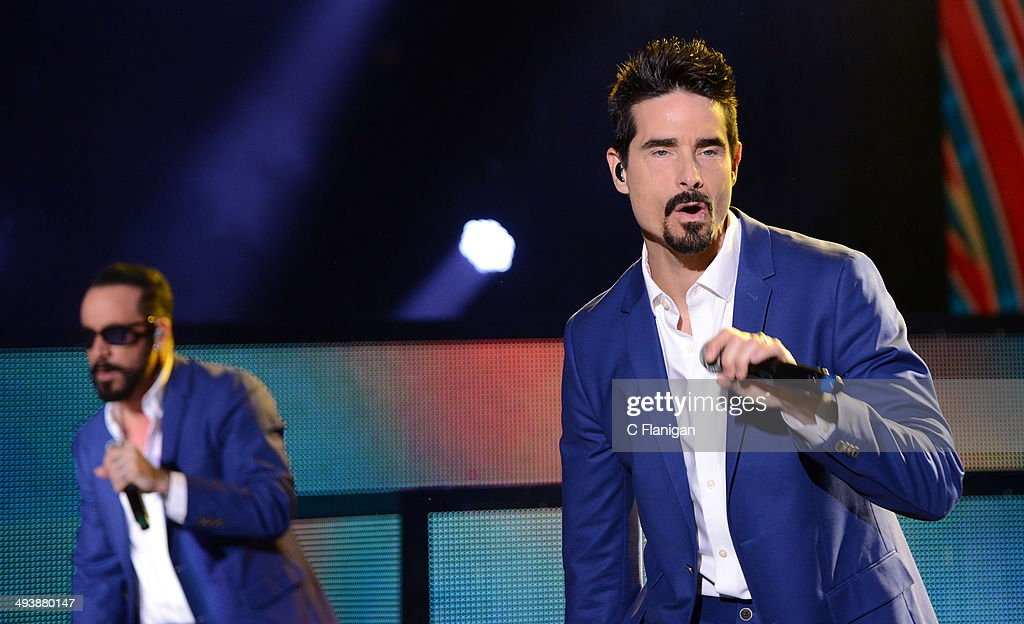 Singers AJ McLean and Kevin Richardson of the Backstreet Boys perform during the 'In a World Like This' summer tour at Shoreline Amphitheatre on May 25, 2014 in Mountain View, California.