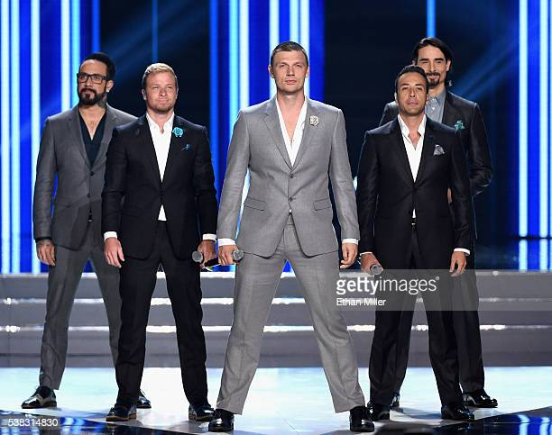 Singers AJ McLean Brian Littrell Nick Carter Howie Dorough and Kevin Richardson of the Backstreet Boys perform during the 2016 Miss USA pageant at...