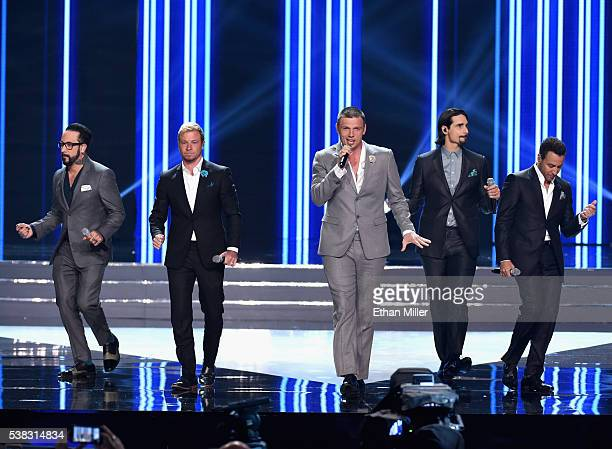 Singers AJ McLean Brian Littrell Nick Carter Kevin Richardson and Howie Dorough of the Backstreet Boys perform during the 2016 Miss USA pageant at...
