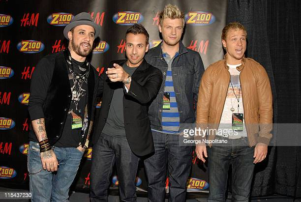Singers AJ Mclean Howie Dorough Nick Carter and Brian Littrell of Backstreet Boys pose for a photo in the press room during Z100's Jingle Ball 2007...