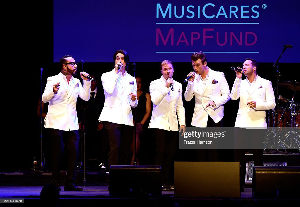 Singers A.J. McLean, Kevin Richardson, Brian Littrell, Nick Carter, and Howie Dorough of Backstreet Boys perform onstage at the 12th Annual MusiCares MAP Fund Benefit Concert Honoring Smokey Robinson at The Novo by Microsoft on May 19, 2016 in Los Angeles, California.