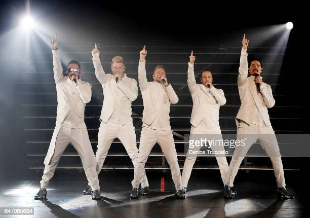 Singers AJ McLean Nick Carter Brian Littrell Howie Dorough and Kevin Richardson of the Backstreet Boys perform during the launch of the group's...