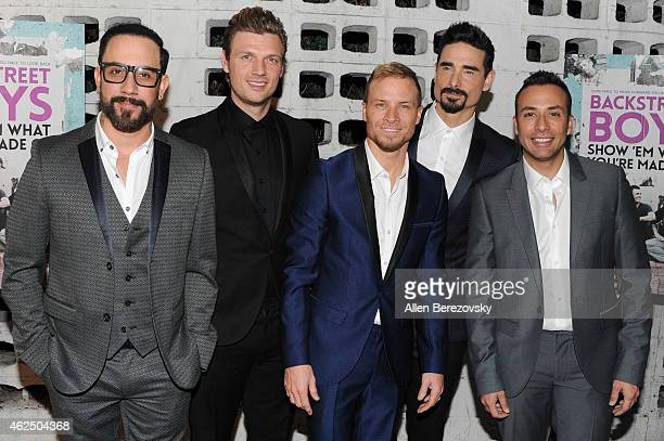 Singers AJ McLean Nick Carter Brian Littrell Kevin Richardson and Howie Dorough of the Backstreet Boys attend the premiere of Gravitas Ventures'...