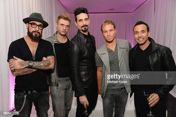 Singers AJ McLean Nick Carter Kevin Richardson Brian Littrell and Howie Dorough of The Backstreet Boys attend the after party of Glamorama 'Fashion...