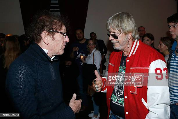 Singers Alain Souchon and Renaud Sechan attend the Concert of Patrick Bruel at Theatre Du Chatelet on June 6 2016 in Paris France