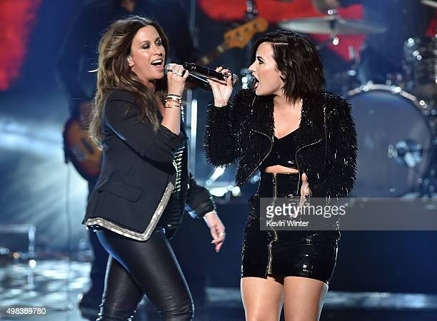 Singers Alanis Morissette and Demi Lovato perform onstage during the 2015 American Music Awards at Microsoft Theater on November 22 2015 in Los...