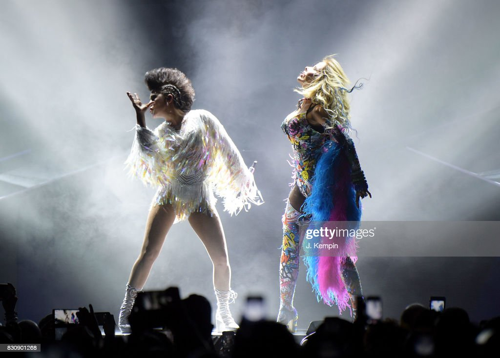 Singers Alejandra Guzman and Gloria Trevi perform at Madison Square Garden on August 12, 2017 in New York City.