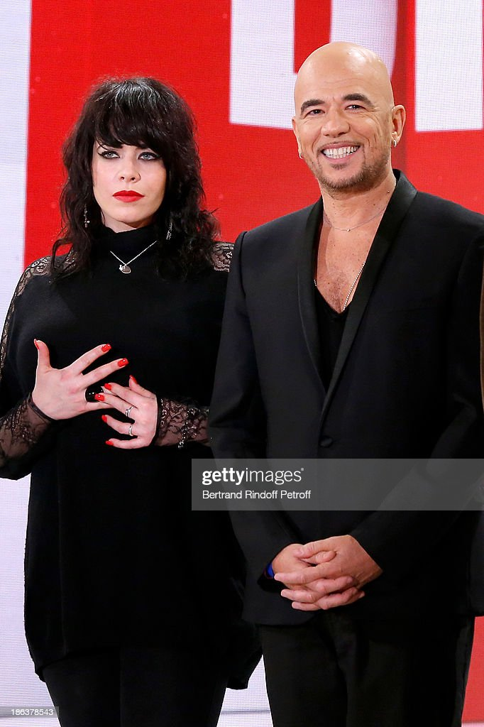 Singers Alex Hepburn and <a gi-track='captionPersonalityLinkClicked' href=/galleries/search?phrase=Pascal+Obispo&family=editorial&specificpeople=549855 ng-click='$event.stopPropagation()'>Pascal Obispo</a> attend the 'Vivement Dimanche' French TV Show at Pavillon Gabriel on October 30, 2013 in Paris, France.