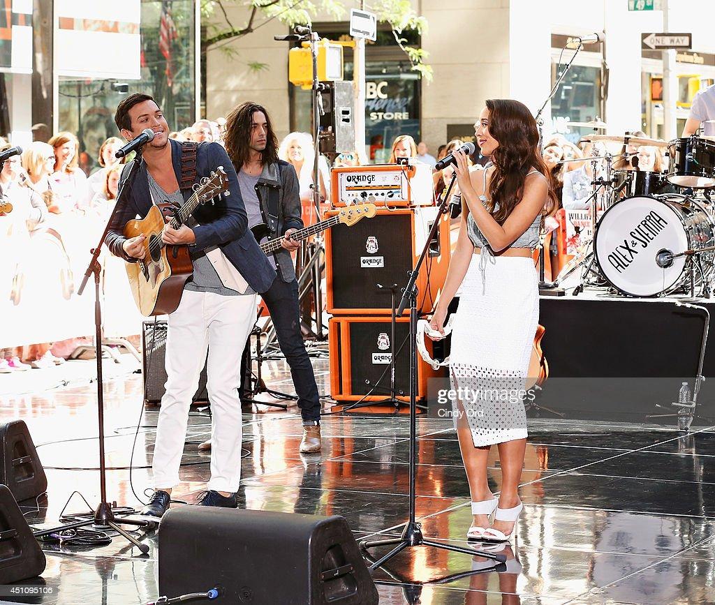 Singers Alex Kinsey (L) and Sierra Deaton of Alex & Sierra perform on