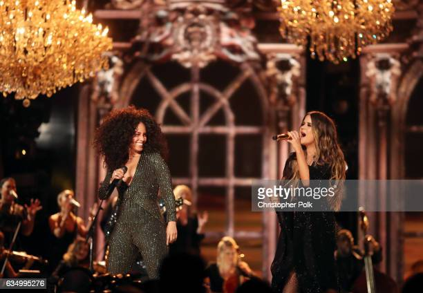 Singers Alicia Keys and Maren Morris during The 59th GRAMMY Awards at STAPLES Center on February 12 2017 in Los Angeles California