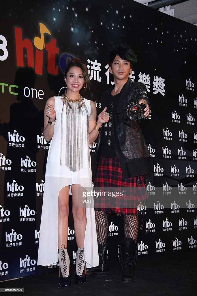 Singers A-Lin and Shin (R) attend 2013 Hito Music Awards at Taipei Arena on June 2, 2013 in Taipei, Taiwan.