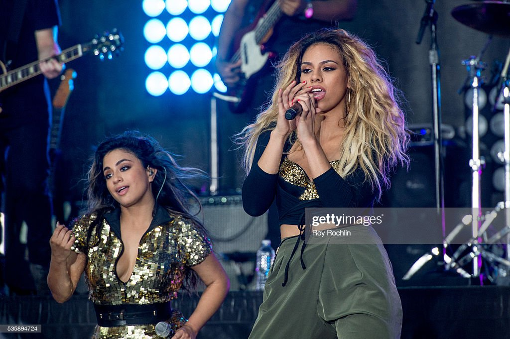 Singers <a gi-track='captionPersonalityLinkClicked' href=/galleries/search?phrase=Ally+Brooke&family=editorial&specificpeople=9748330 ng-click='$event.stopPropagation()'>Ally Brooke</a> and Dinah-Jane Hansen of Fifth Harmony Perform On NBC's 'Today' at Rockefeller Plaza on May 30, 2016 in New York City.