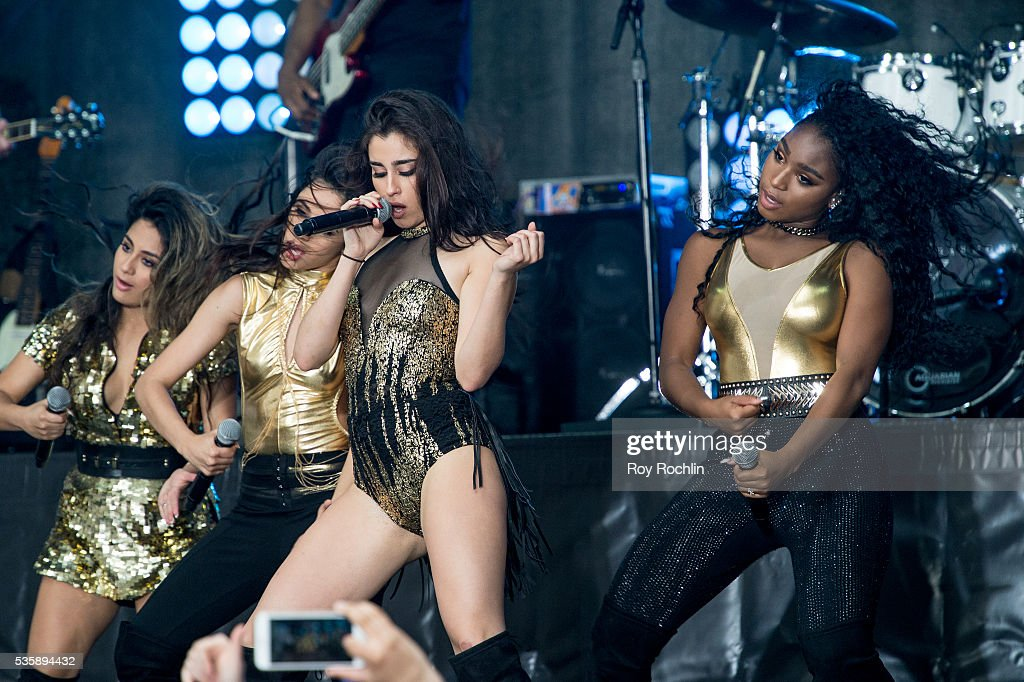 Singers Ally Brooke, Camila Capello, Lauren Jauregui and Normani Hamilton of Fifth Harmony Perform On NBC's 'Today' at Rockefeller Plaza on May 30, 2016 in New York City.