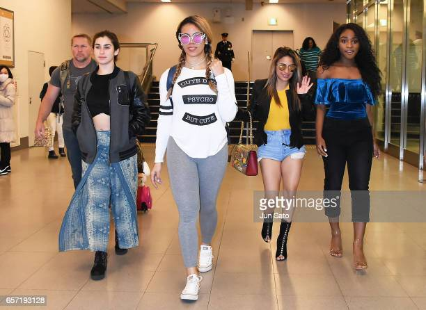 Singers Ally Brooke Dinah Jane Lauren Jauregui and Normani Kordei of Fifth Harmony is seen upon arrival at Haneda Airport on March 24 2017 in Tokyo...