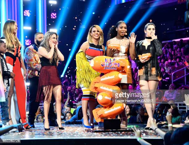 Singers Ally Brooke Dinah Jane Normani Kordei and Lauren Jauregui of Fifth Harmony accept Favorite Music Group and Favorite Song for 'Work from Home'...