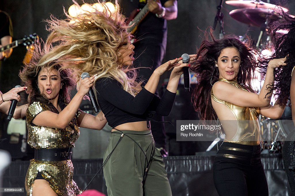 Singers <a gi-track='captionPersonalityLinkClicked' href=/galleries/search?phrase=Ally+Brooke&family=editorial&specificpeople=9748330 ng-click='$event.stopPropagation()'>Ally Brooke</a>, Dinah-Jane Hansen and Camila Capello of Fifth Harmony Perform On NBC's 'Today' at Rockefeller Plaza on May 30, 2016 in New York City.