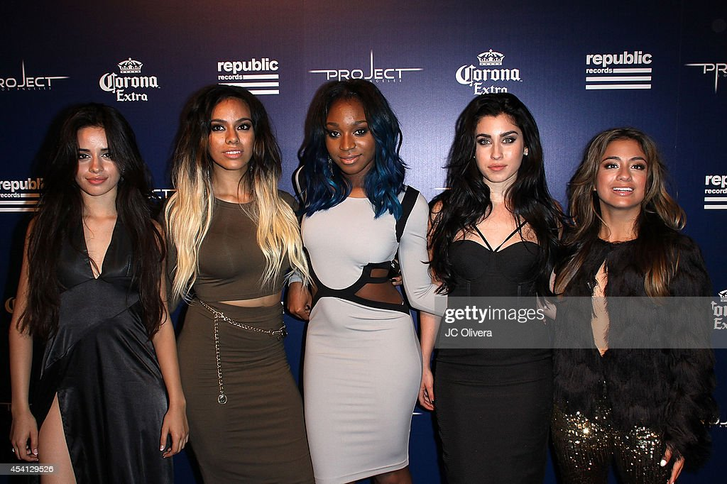 Singers <a gi-track='captionPersonalityLinkClicked' href=/galleries/search?phrase=Ally+Brooke&family=editorial&specificpeople=9748330 ng-click='$event.stopPropagation()'>Ally Brooke</a> Hernandez, Normani Hamilton, <a gi-track='captionPersonalityLinkClicked' href=/galleries/search?phrase=Dinah+Jane+Hansen&family=editorial&specificpeople=9951841 ng-click='$event.stopPropagation()'>Dinah Jane Hansen</a>, <a gi-track='captionPersonalityLinkClicked' href=/galleries/search?phrase=Camila+Cabello&family=editorial&specificpeople=9951839 ng-click='$event.stopPropagation()'>Camila Cabello</a>, and <a gi-track='captionPersonalityLinkClicked' href=/galleries/search?phrase=Lauren+Jauregui&family=editorial&specificpeople=9766444 ng-click='$event.stopPropagation()'>Lauren Jauregui</a> of Fifth Harmony attend Republic Records Official VMA After Party Red Carpet at Project La on August 24, 2014 in Los Angeles, California.
