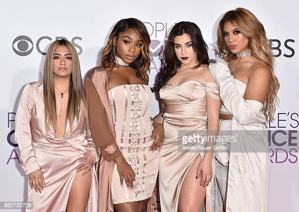 Singers Ally Brooke Normani Hamilton Dinah Jane Hansen and Lauren Jauregui of Fifth Harmony arrive at the 2017 People's Choice Awards at Microsoft...