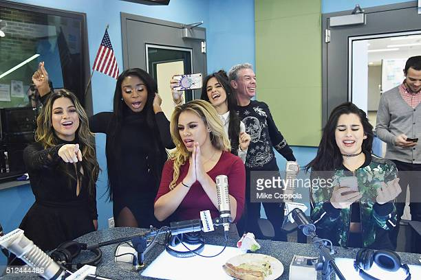 Singers Ally Brooke Normani Hamilton DinahJane Hansen Camila Cabello radio personality Elvis Duran and Lauren Jauregui of the singing group Fifth...