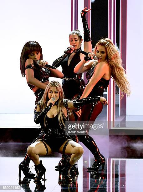 Singers Ally Brooke Normani Kordei Dinah Jane and Lauren Jauregui of Fifth Harmony perform onstage during the People's Choice Awards 2017 at...