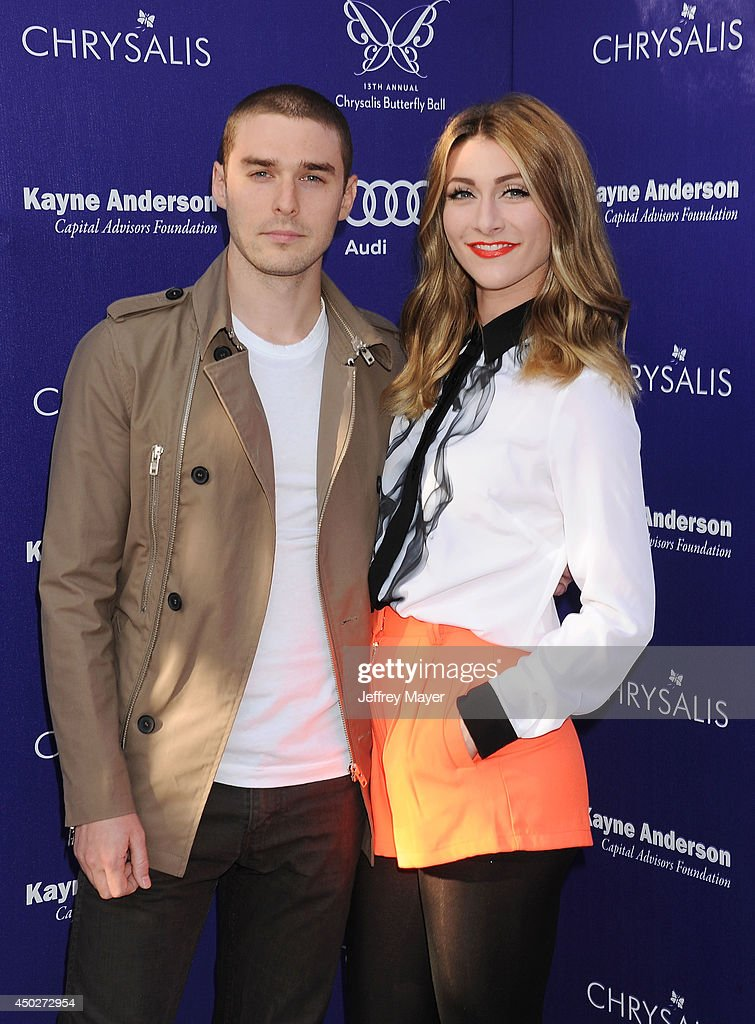 Singers Amy Renee Heidemann and Nick Noonan of Karmin arrive at the 13th Annual Chrysalis Butterfly Ball at a private Mandeville Canyon estate on...