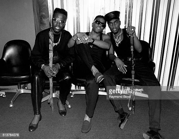 Aaron Hall Teddy Riley and Damion Hall from Guy poses for photos backstage after their performance at the Arie Crown Theater in Chicago Illinois in...