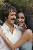 Singers and TV stars Sonny and Cher pose for a portrait at home in Beverly Hills California