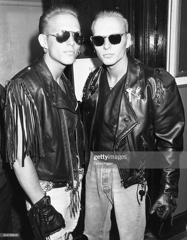 Singers and twins Matt and Luke Goss wearing sunglasses and leather jackets at the BRIT Awards London February 15th 1989
