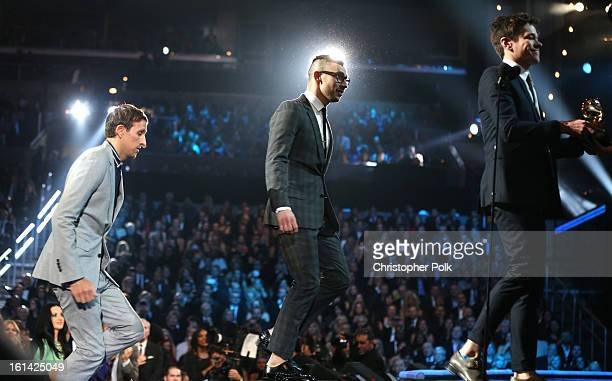 Singers Andrew Dost Jack Antonoff and Nate Ruess of Fun onstage during the 55th Annual GRAMMY Awards at STAPLES Center on February 10 2013 in Los...