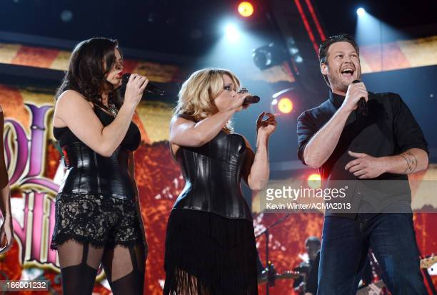 Singers Angaleena Presley Miranda Lambert and Blake Shelton perform onstage during the 48th Annual Academy of Country Music Awards at the MGM Grand...
