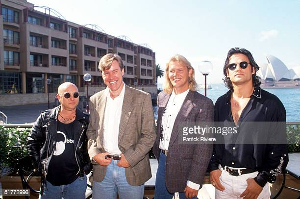 Singers Angry Anderson Anthony Warlow Jon Stevens and John Farnham pose at a photocall for the promotion of Jesus christ Superstar the musical1992 in...
